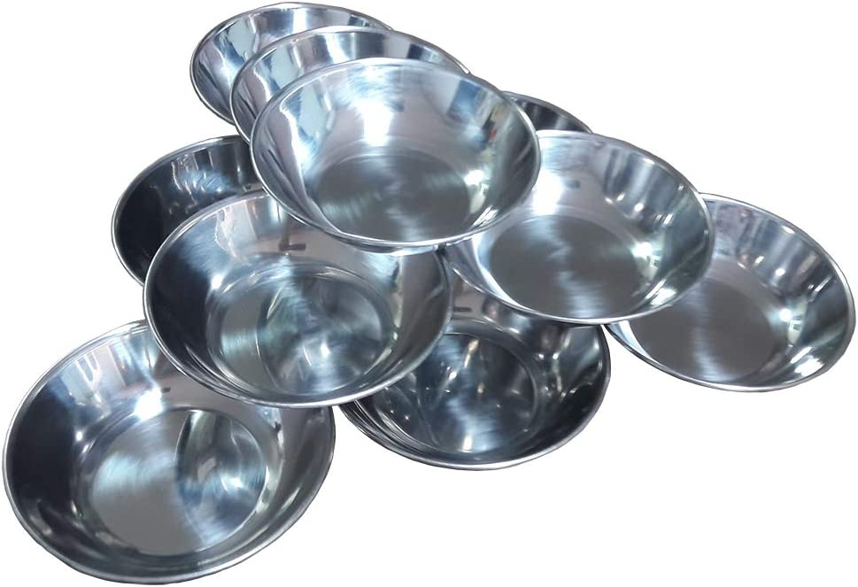 10pieces Korean Stainless Steel 4.75inches Table Small Dish Bowl Plate Set for Side Dish, Sauce