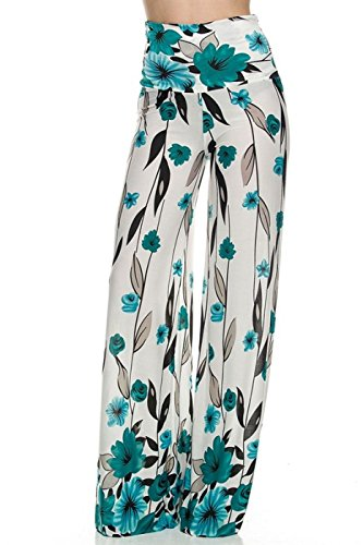 2LUV Women's Printed High Waisted Palazzo Pants Cream & Teal M (US-CL12)