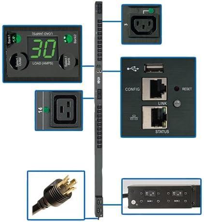 Tripp Lite PDU Monitored 5//5.8kW 208//240V 20 C13 /& 4 C19 30A LX Platform L6-30P Vertical 0URM Rack-Mount TAA PDUMNV30HVLX