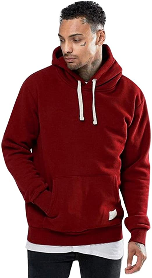 Mens New Sweatshirt Sweater Hooded Hoodie Knit Fleece Jumper Pullover Pouch Warm