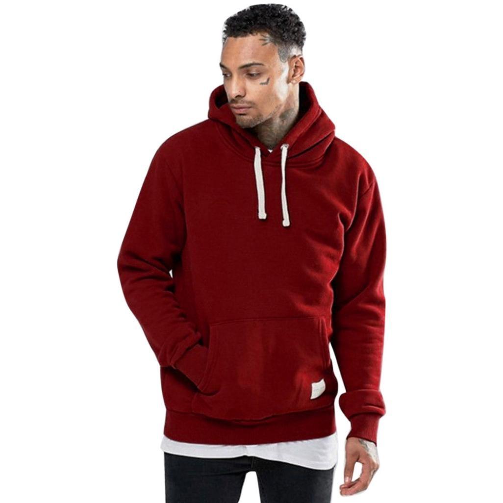 WM&MW Men Hoodie Winter Fleece Pocket Warm Red Hooded Sweatshirt Outwear Sweater Jumper Pullover (Red, S (Asian:M)) by WM&MW