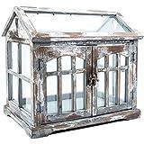 Gray, Brown & White Wood Terrarium with 2-Doors Home Decor Shabby Chic