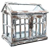 Gray, Brown & White Wood Terrarium with 2-Doors Home Decor Shabby Chic For Sale