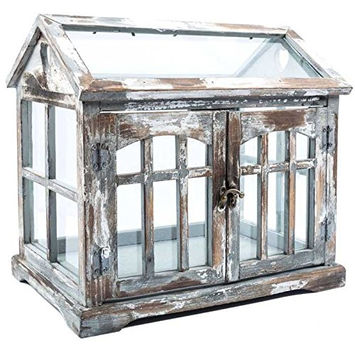 Gray, Brown & White Wood Terrarium with 2-Doors Home Decor Shabby Chic from Generic