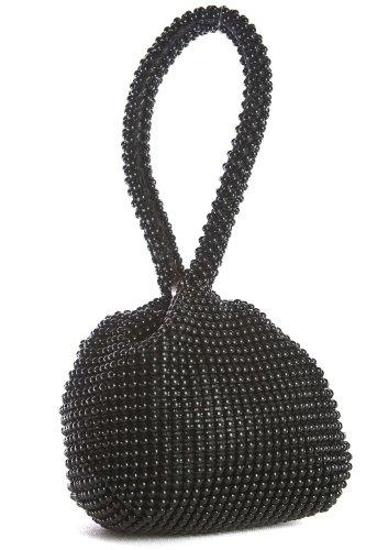 Big Handbag Shop Womens Mini Soft Body Beaded Wristlet Pouch Clutch Bag (Black)