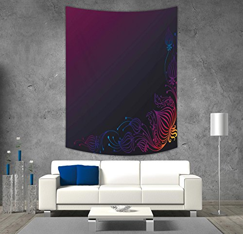 Purple Swirl Tapestry - iPrint Polyester Tapestry Wall Hanging,Indigo,Rainbow Colored Image with Dark Black Purple Ombre Backdrop Flower Like Swirls Art,Multicolor,Wall Decor for Bedroom Living Room Dorm