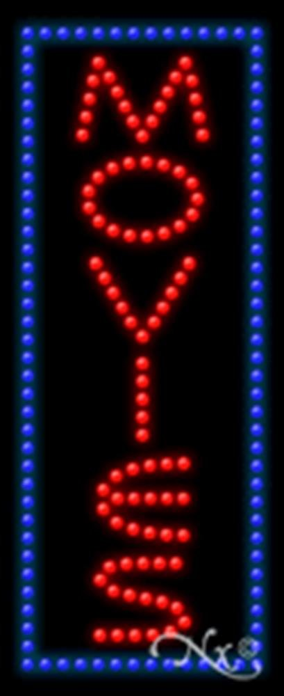 11x27x1 inches Movies Animated Flashing LED Window Sign