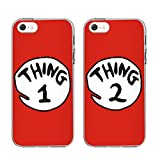 "iPhone 5 5SE 5S Case-IPHONE BFF CASE TTOTT 2 X Cute Red Thing 1 2 Design Lovers Couple Best Friends TPU Frame Hard Back Case Cover Skin For 4""INCH iPhone 5 5SE 5S"