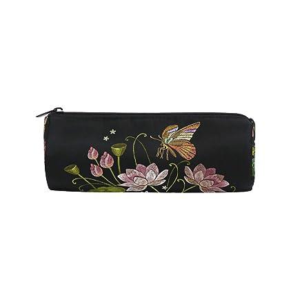 Estuche para lápices, diseño de mariposas y flores de loto para ...