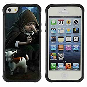 A-type Arte & diseño Anti-Slip Shockproof TPU Fundas Cover Cubre Case para Apple iPhone 5 / 5S ( Funny Witch & Goat Illustration )