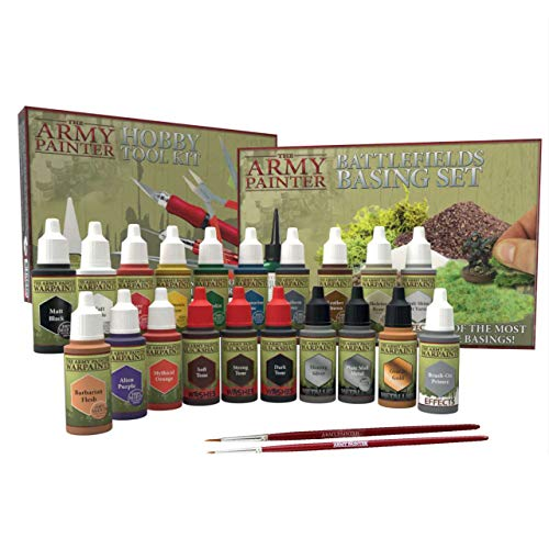 The Army Painter Super Hobby Collection: 20 Model Paints with 2 Miniature Paint Brushes, Model Tool Kit, Basing Set, 18 ml/Bottle, Miniature Painting Kit, Non-Toxic Acrylic Paint Set for D&D miniature from The Army Painter