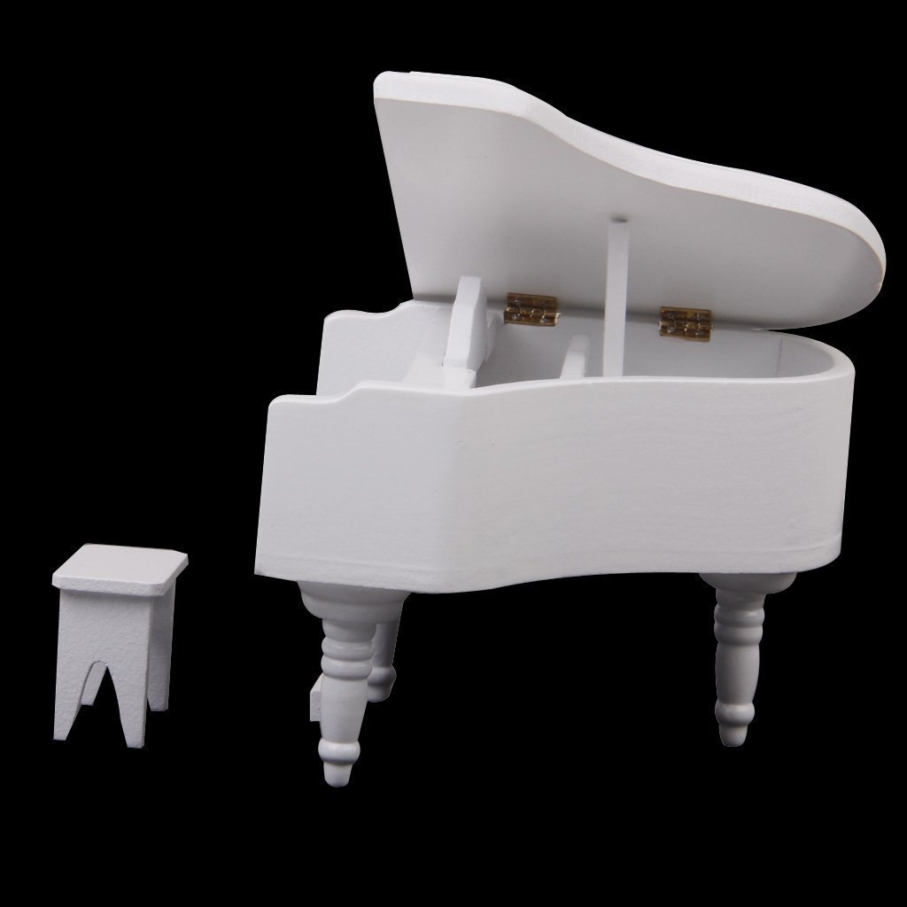 SODIAL 1:12 Piano Exquise en bois Blanc Miniature de maison de poupee