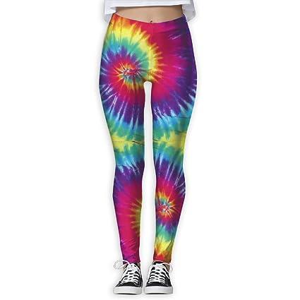 c874018286f9 Amazon.com: Women's Girl Pastel Rainbow Tie Dye High Waist Casual ...