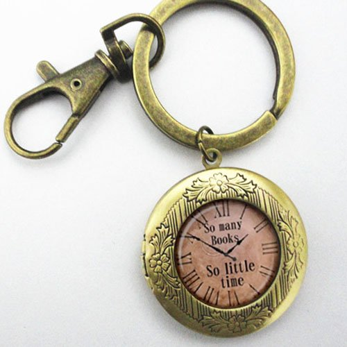 Time Book Locket - So Many Books,so Little Time Keychain Locket ,Gorgeous Keychain, Mimi Keychain, Everyday Gift Key Chain, Unique Key Ring Customized Gift