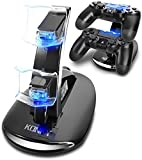KONKY - PS4 Controller Charging Dock Stand, USB Dual Charger Station Accessory with LED Indicator for Playstation 4 / PS4 Slim Pro and PSVR Controller, Black