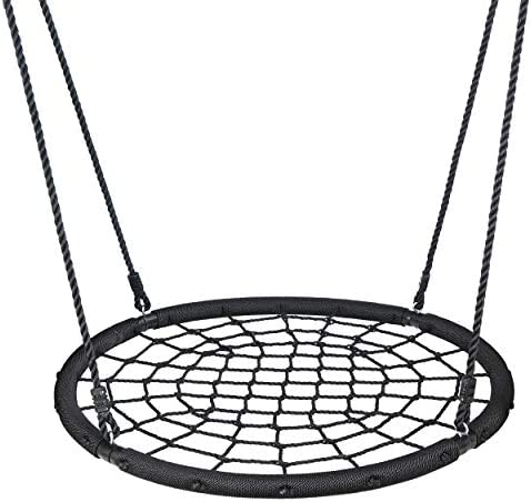 ZENY Extra Large 48 Spider Web Tree Swing,Backyard Outdoor Hanging Play Slide Seat with Adjustable Hanging Rope, Large Platform for Multiple Children to Swing Together,Free Hanging Strap Kit