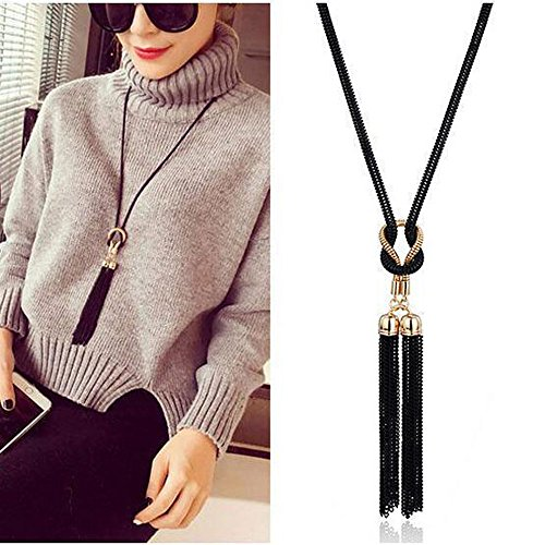 5mm Earrings Medium Hoop (Gbell Women Girls Necklaces - Exquisite Chain Tassel Sweater Long Necklace Chain for Party Costume,for Wedding,for Any Other Occasions,1Pcs 52×5.5cm, (Black))