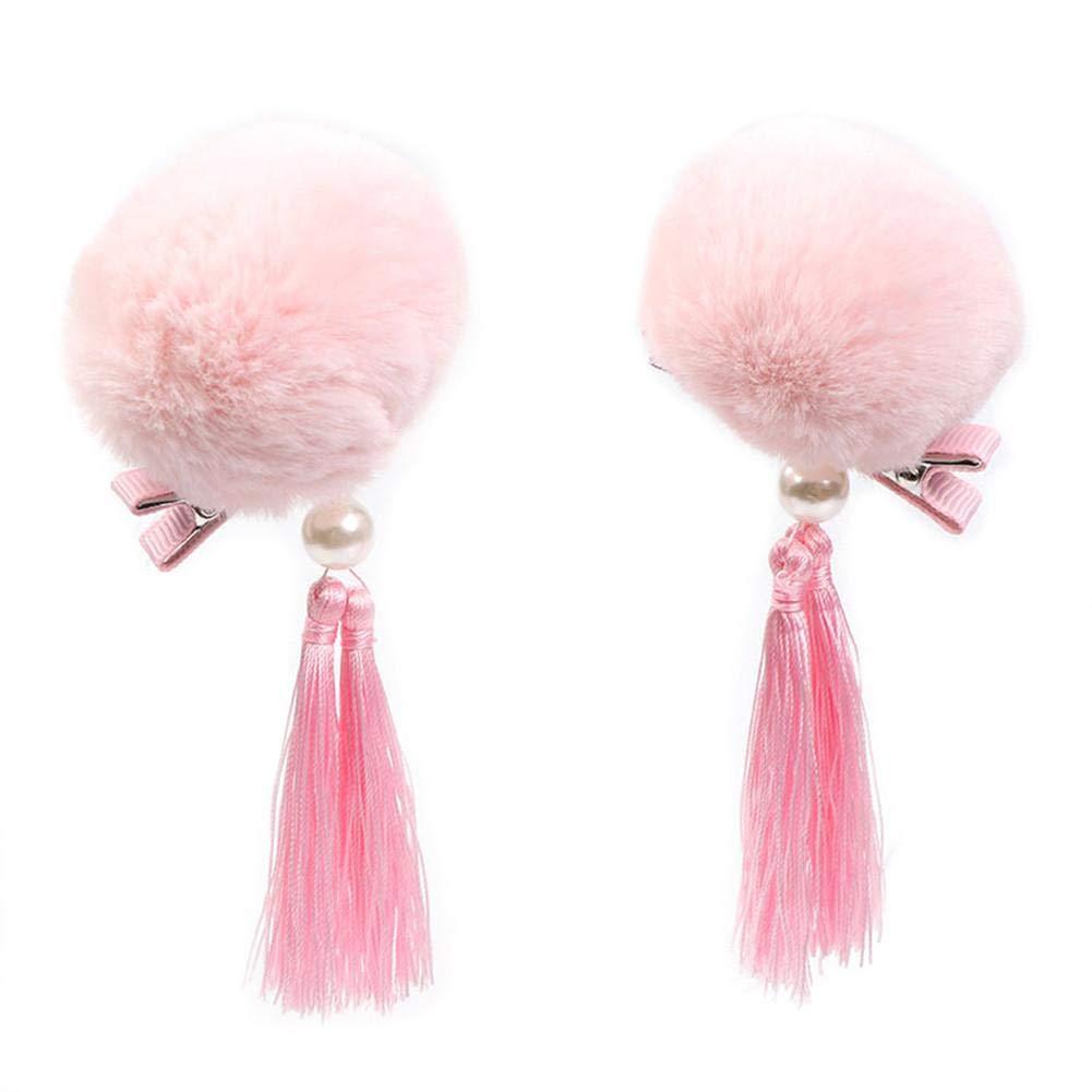 Girls Hair Accessories Fluffy Ball Hairpins Snap Hair Barrettes Clips 2PCS