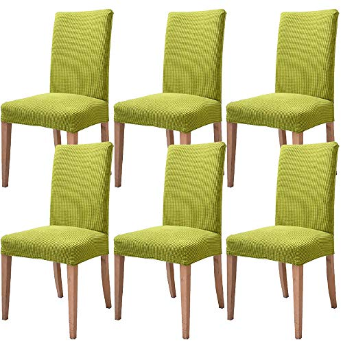 Leanking Knit Spandex Fabric Stretch Removable Washable Dining Room Chair Slipcover Home Decor Set of 4 (Green, 6 Pcs)