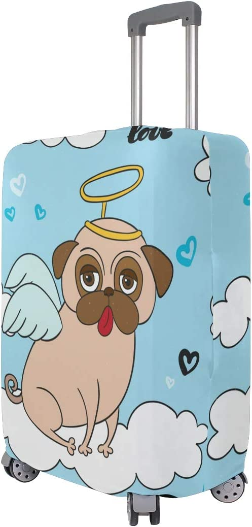 3D Fun Pug With Angel Costume Print Luggage Protector Travel Luggage Cover Trolley Case Protective Cover Fits 18-32 Inch