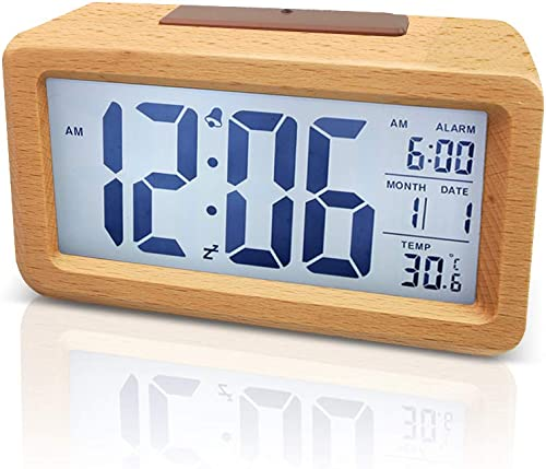 Wowkiki Wooden Digital Alarm Clock, Battery Control, Smart Sensor Night Light with Snooze, Date, Temperature, 12 24Hr switchable, Solid Wood Shell, for Bedrooms and Travel. Primary Wood