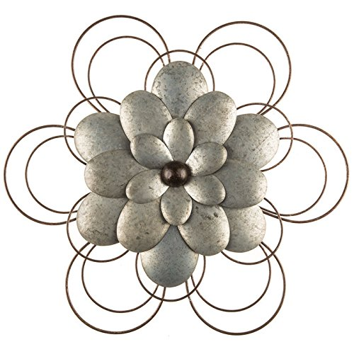 Galvanized Flower - Layered Galvanized Metal Flower Wall Decor
