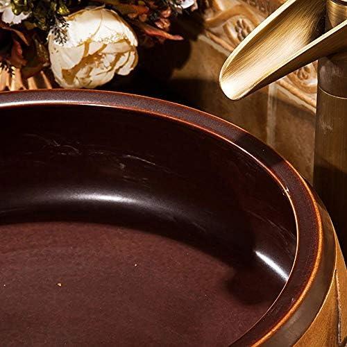 セラミック洗面器 素朴な洗面化粧台のシンクボウルアート洗面用キャビネット洗面化粧台 バスルームキャビネットシンク (色 : 褐色, Size : 40x15cm)