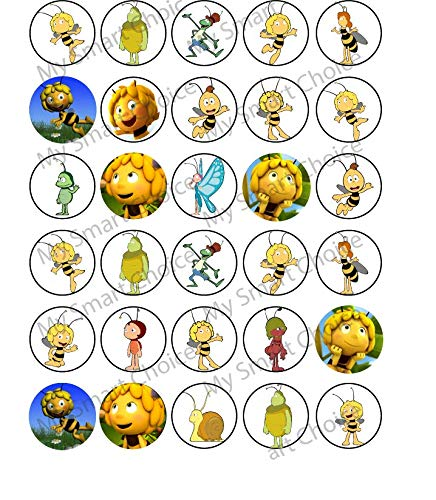 30 x Edible Cupcake Toppers – Mya the Bee Themed Collection of Edible Cake Decorations | Uncut Edible Prints on Wafer ()