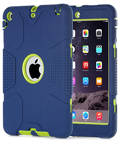 iPad mini Case, iPad mini 2 Case,iPad mini 3 Case,iPad mini Retina Case, BENTOBEN Hard PC+Soft Silicone Hybrid Anti-slip Shockproof Protective Case Cover for iPad mini 1/2/3 Retina, Navy Blue/Green