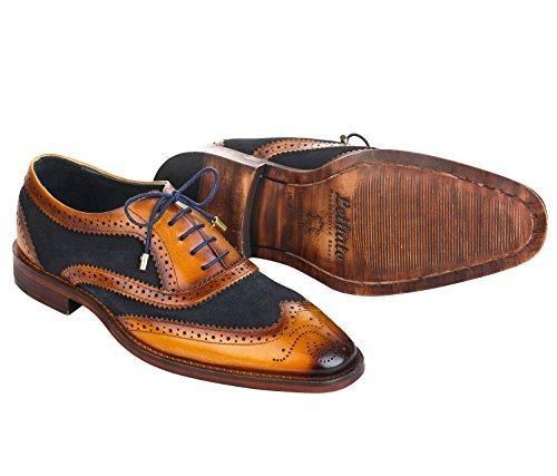 Lethato Vleugeltip Brogue Oxford Handgemaakte Mannen Echt Leer Lace Up Kleding Schoenen Met Gouden Kleur Metalen Aglets Schoenveter Tips Marineblauw