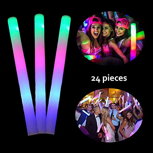 Lifbeier 24 PCS LED Glow Foam Sticks, Light-up Toys 3 Modes RGB Flashing Glow in the Dark Party Supplies for Kids, Birthday, Wedding, Halloween ()