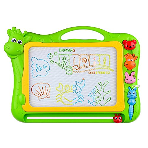 BCMRUN Magnetic Drawing Board, 12.8 inch Drawing Area Erasable Portable Colorful Magna Doodle for Kid Learning Painting (Green)