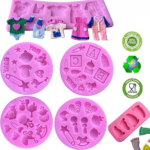 Cute Baby Silicone Fondant Cake Mold Kitchen Baking Mold Cake Decorating Moulds Modeling Tools,Gummy Sugar Chocolate Candy Cupcake Mold(6 PACK)]()