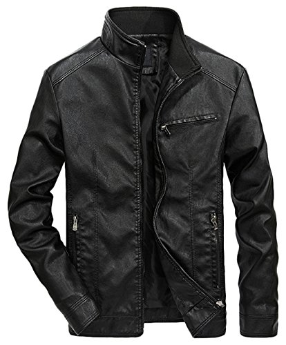Retro Leather Collar - Youhan Men's Casual Full-Zip Retro Fitted PU Faux Leather Jacket (Large, Black)