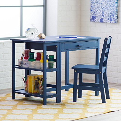 Lipper Writing Workstation Desk and Chair - Navy by Lipper International