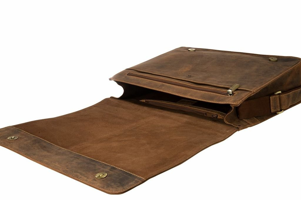 Visconti Visconti Leather Distressed Messenger Bag Harvard Collection, Tan, One Size by Visconti
