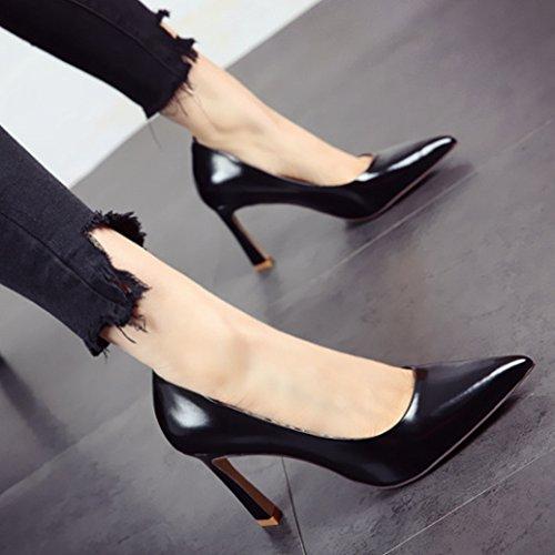 trabajo b simple zapatos la y zapatos solo mujer FLYRCX y de de altos en La delgados negra de superficial primavera tacones RnYgFBq