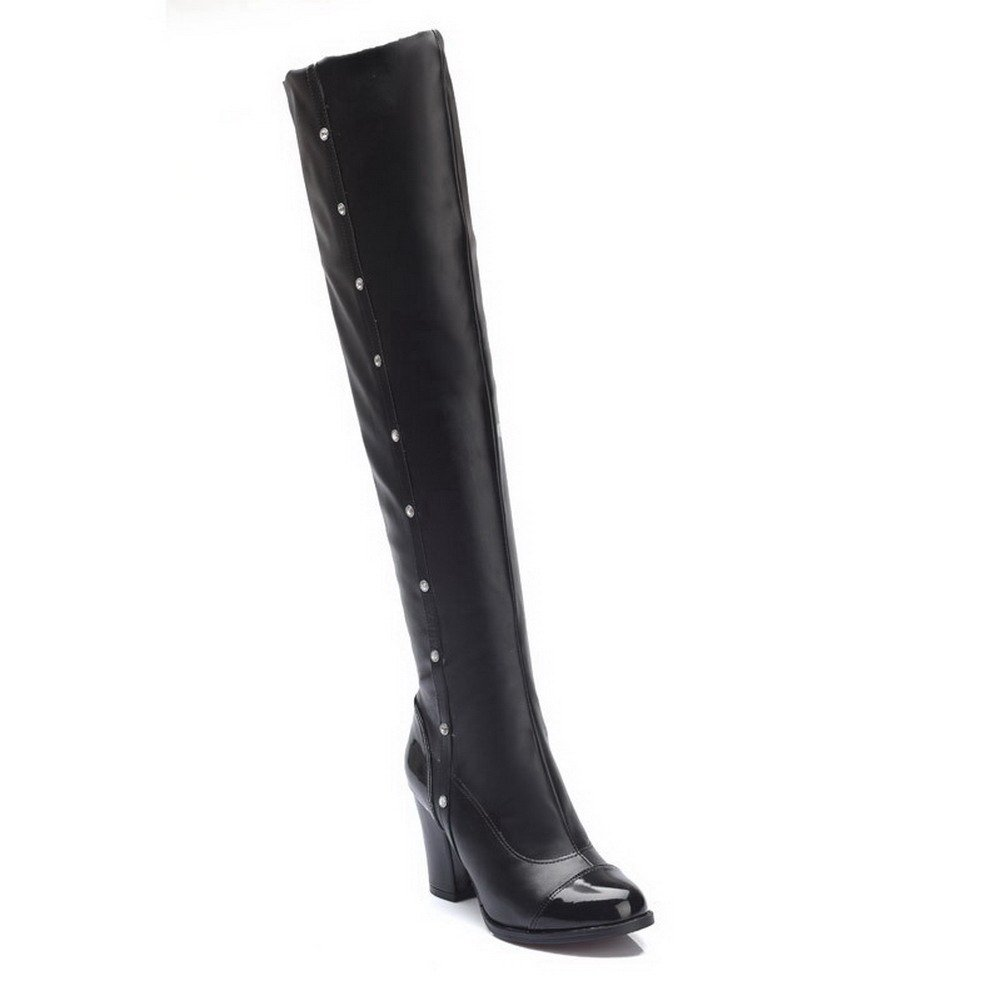 VogueZone009 Womens Round Closed Toe High-Heels Artificial Cow Leather Solid Boots, Black-Crystals, 37