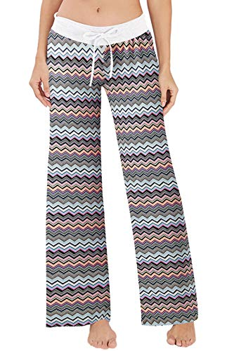 RAISEVERN Women's Casual Pajamas Pants Striped Boho Summer Wide Leg Palazzo Lounge Pants High Waisted Drawstring Comfy Sleepwear Trousers Pyjamas