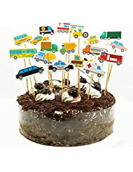 Set of 18 Car Truck Tractor Excavator Dumpers Ambulance Bus Taxi Vehicle Cupcake Toppers Picks DIY Cake Topper Toolkit by SHXSTORE