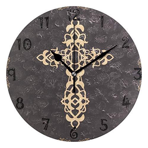 LDIY Art Cross Round Wall Clock Circular Plate Silent Non Ticking Clocks for Kitchen Home Office School Decor Kid Boys Girls