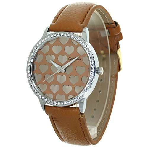 Dress Brown Dial (TimeMax Lovers Heart Carves Dial Design Womens Watches Rhinestone Mounted Case Convex Prism Crysal Japan Quartz Analog Fashion Stylish Casual Dress Wristwatch Girls Valentines Gifts)
