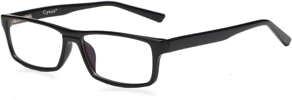 Cyxus Gafas con Filtro de luz Azul para Bloquear el Dolor de Cabeza por Rayos Ultravioleta Gafas Transparentes para Juegos, Unisex (Hombres/Mujeres) (Bisagra de Primavera/Negro)