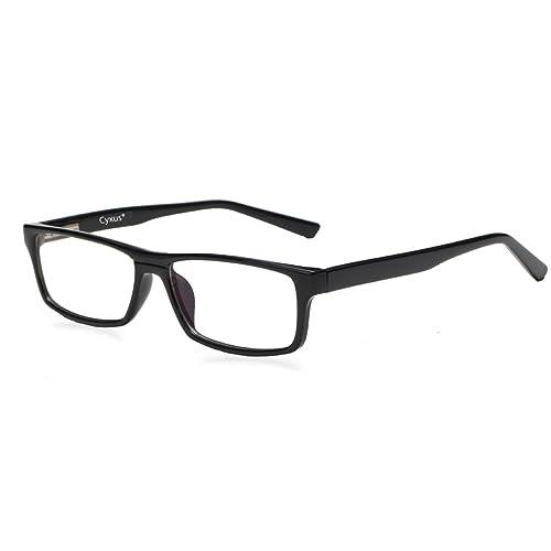 Cyxus Blue Light Filter Computer Glasses for Blocking UV Headache [Anti Eye Fatigue] Retro Eyewear,Unisex (Men/Women) (Black / TR90 Pro Frame) (Classic Black/Spring Hinge)