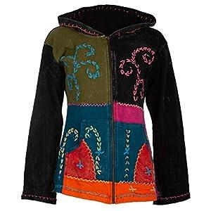Chaqueta hippie para mujer, hecha a mano de Nepal con forro polar interior, capucha con bolsillos laterales. | DeHippies.com