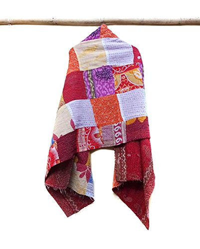 Indian Cotton Kantha Fashion Scarf Reversible Bohemian Handmade Neckerchief patchwork