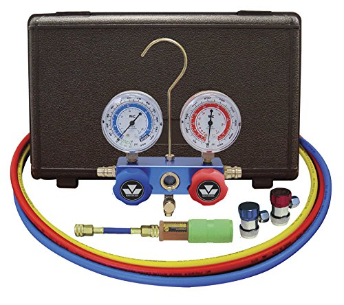 Mastercool 89661-UV Aluminum Manifold Gauge Set and Mini Dye Injector with Manual Coupler ()