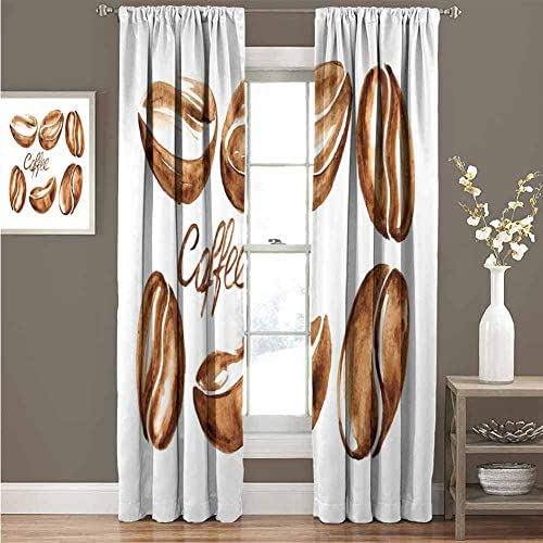 GUUVOR Coffee Shading Insulated Curtain Watercolor Effect Beans Breakfast Drink Brush Strokes Pattern Abstract Artistic Soundproof Shade Curtain 52