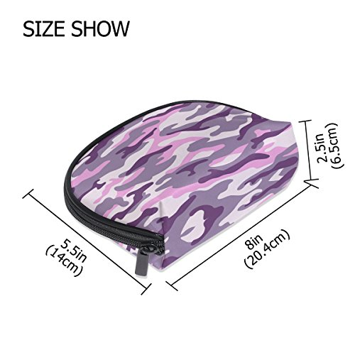 Amazon.com : ALAZA Green Camouflage Half Moon Cosmetic Makeup Toiletry Bag Pouch Travel Handy Purse Organizer Bag for Women Girls : Beauty