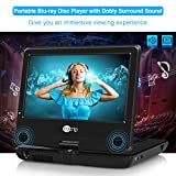 Portable Blu-ray Player 10.1 Inch Portable Blu-Ray DISC/DVD Player with HDMI Output, Dolby Audio, Full HD Swivel Screen, Rechargeable Battery, SD / MMC Card Slot and USB Port - Black